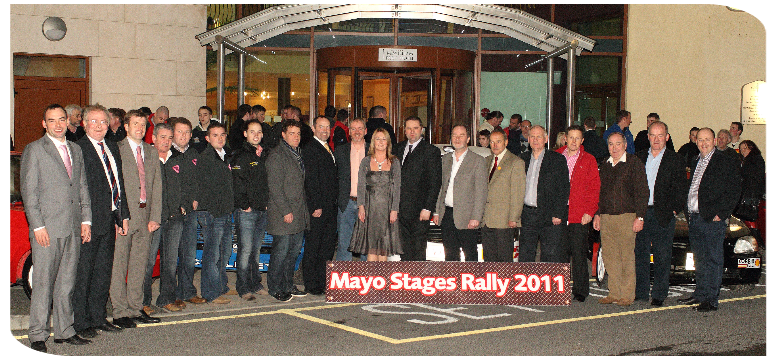 Pictured at the launch of the Mayo Stages Rally 2011 at The McWilliam Park Hotel, Claremorris, from left: Aaron McHale RSA and Assistant CoC; Richard Finn, Mayo Co.Co.; Neil Sheridan, County Enterprise Board, Mayo Co.Co.;  Finbarr Burke, Liam Elwood and Donal Byrne of West Fest; Killian Duffy, Danny McHugh, Supermacs and Costcutter; Noel Brett, CEO RSA;  Cathal Doyle M&DMC PRO;  Kathleen Kennedy, Mayo Stages Rally Secretary;  Sean McHugh CoC Mayo Stages Rally;  Eugene Waldron, President Claremorris Chamber of Commerce;  Joe Corcoran, President Motor Sport Ireland; Tom Walsh M&DMC Club President and Steward for Mayo Stages Rally;  Jimmy Flynn, Flynn Pharmacy;  Brendan Mellett, Claremorris Credit Union; Tadhg Buckley, EPS and Seamus Coffey Asst, COC