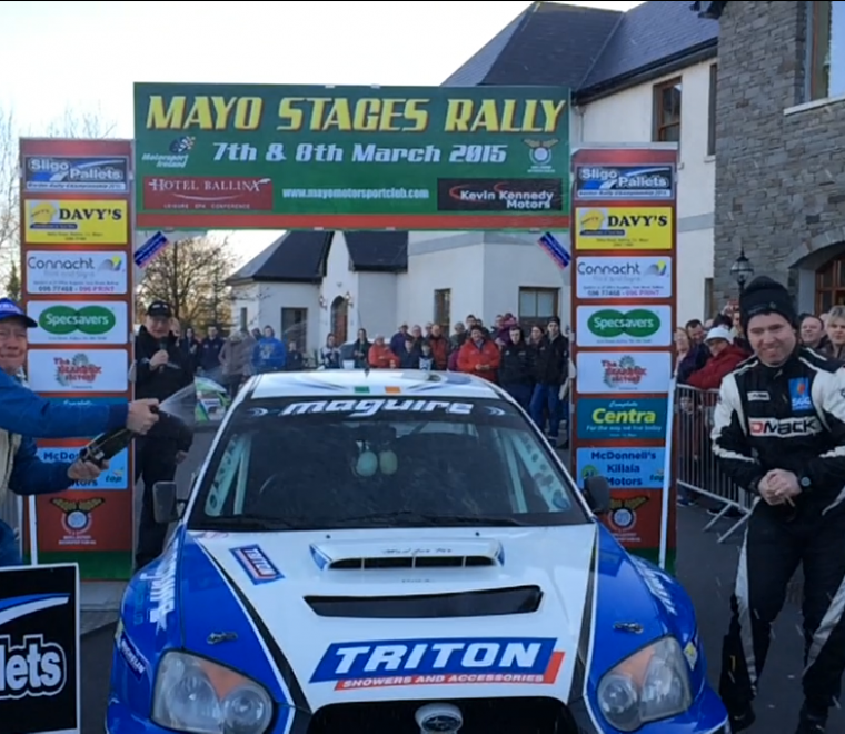 "<span class=""light"">Monaghan's</span> Niall Maguire and Enda Sherry celebrate  winning Mayo Stages 2015"