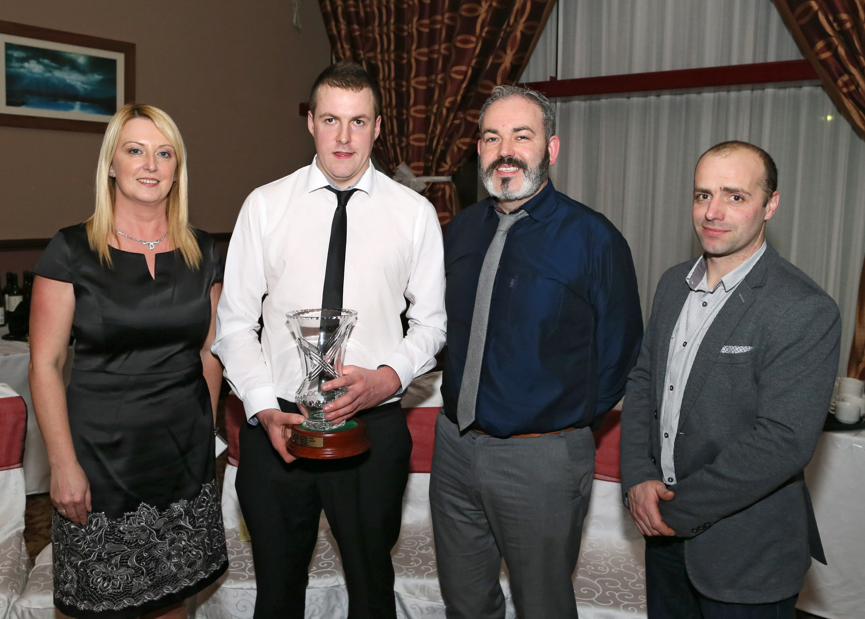 Alan Moran, Foxford (Motor Sport Award Winner) pictured with Mayo and District Motor Sport Club officers,  Kathleen Kennedy, sec; Andy Walsh PRO and Matthew Murphy, Chairman, at Western People 46th Annual Mayo Sports Stars Awards in Association with Ballina Beverages Gala Presentation Banquet in Hotel Ballina 19 Feb 2016. Photo: © Michael Donnelly