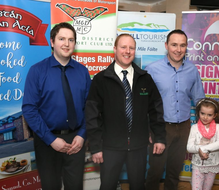 "<span class=""light"">Cathal</span> McLoughlin, Manager Ostán Oileán Acla (Joint Title Sponsor), Trevor OConnell, Clerk of the Course; David & Megan Devers, Connacht Print & Signs (Joint Title Sponsor)"