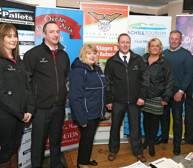 "<span class=""light"">Donna</span> & Peter McManamon; Mary Gallagher, Achill Tourism; Trevor O'Connell, Clerk of the Course; Deirdre Burke, Event Secretary; Michael Lavelle, Emmet Callaghan, Achill Tourism"