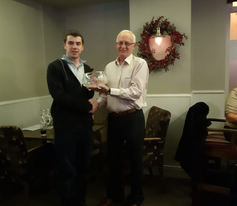 "<span class=""light"">Derek</span> Mackerel winner of the Frank Harrington Challenge 2018 receiving his trophy from Victor Tenor (Manager – Harringtons Quarry)"