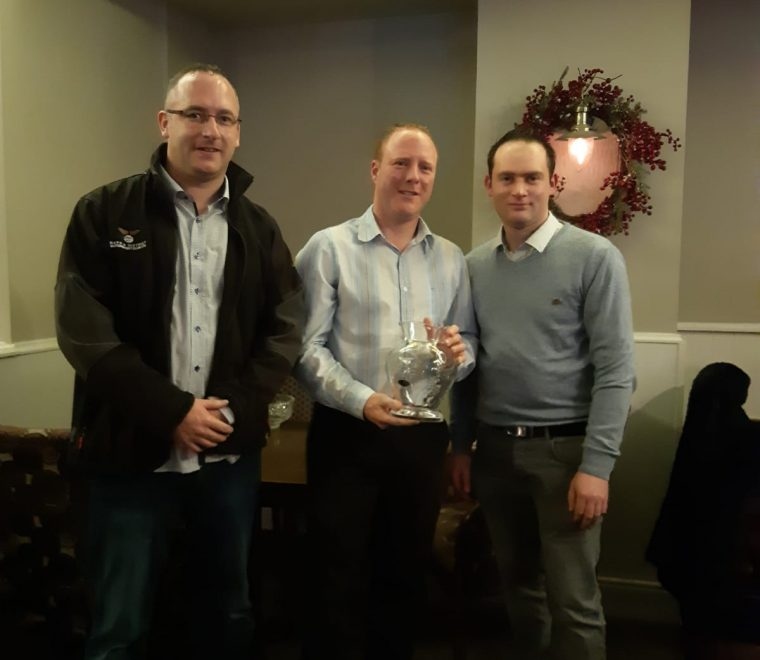 "<span class=""light"">Trevor</span> O'Connell winner of Mayo Motorsport Club member of the year award receiving his award from Peter McManamon & David Jordan"